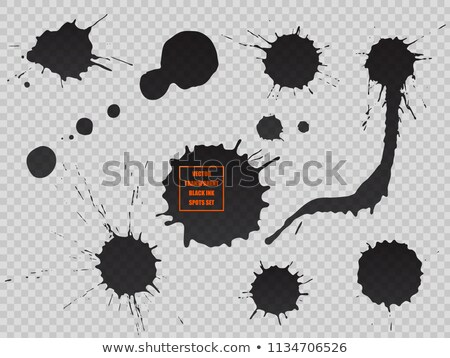 Black ink spot set, paint blot. Semitransparent vector shapes isolated on transparent background Stock photo © Iaroslava