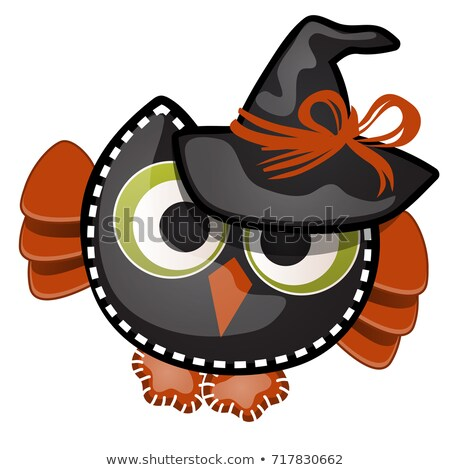 Funny witch owl with contours in the form of strokes and dotted lines isolated on white background.  Stock photo © Lady-Luck