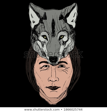 Man Native American Hunter Wolf Illustration Stock photo © lenm