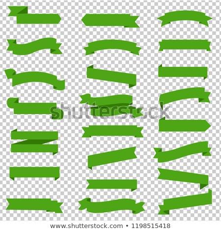 green ribbon set inisolated transparent background stock photo © cammep