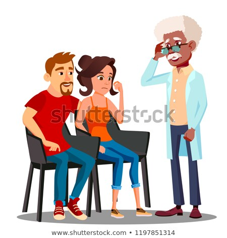 Family Psychologist Talking To Middle Aged Couple Vector. Isolated Illustration Stock photo © pikepicture