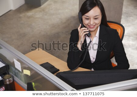 High Angle View Of Black Landline Phone Stock photo © AndreyPopov