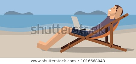 Man sitting on beach stock photo © monkey_business
