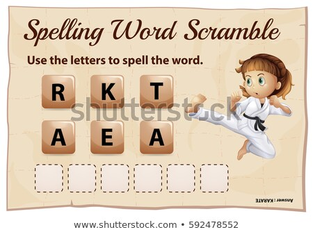 Spelling word scramble game with word karate Stock photo © colematt