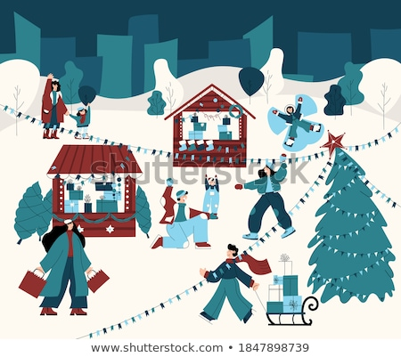 Menge Vektor Winter Illustration isoliert Schnee Stock foto © pikepicture