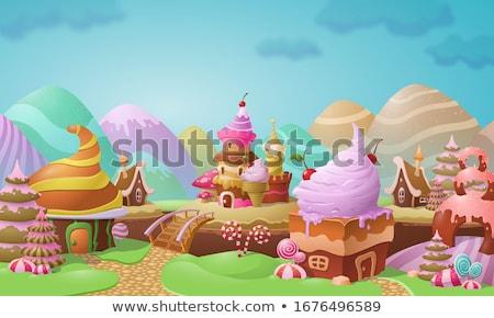 Színes cukorkák karamell fagylalt desszertek gyönyörű Stock fotó © MarySan
