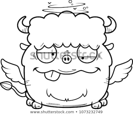 Dronken cartoon buffalo wings illustratie naar glimlachend Stockfoto © cthoman