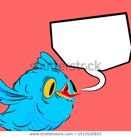 blue bird and speech bubble birdie and place for text cartoon stock photo © maryvalery