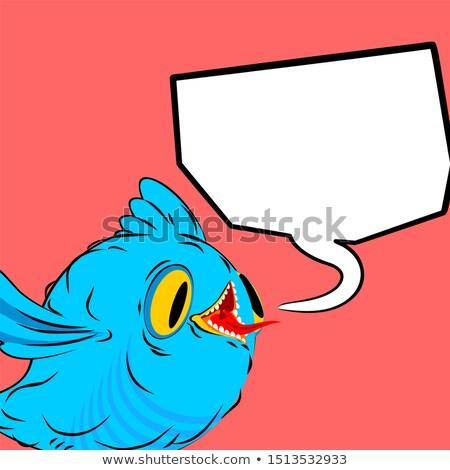 Blauw vogel tekstballon vogeltje plaats tekst Stockfoto © MaryValery