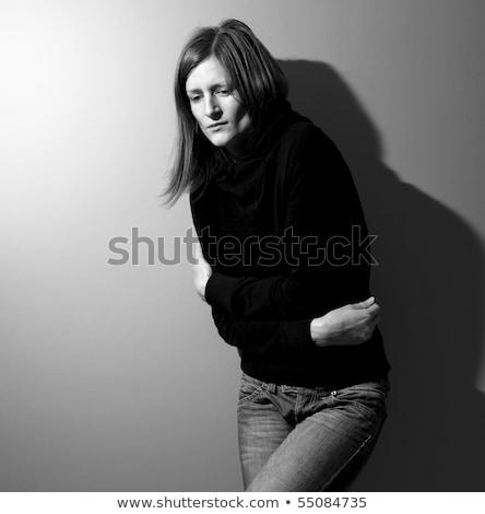 mulher · jovem · sofrimento · depressão · iluminação · usado · tiro - foto stock © lightpoet
