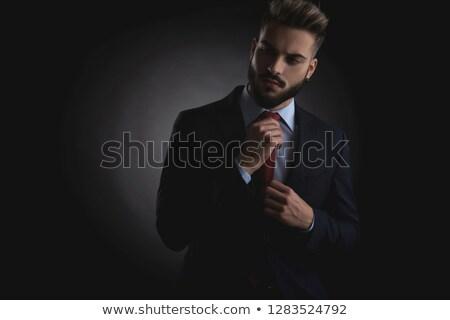 mannelijk · model · zwart · pak · Rood · stropdas · sluiten - stockfoto © feedough