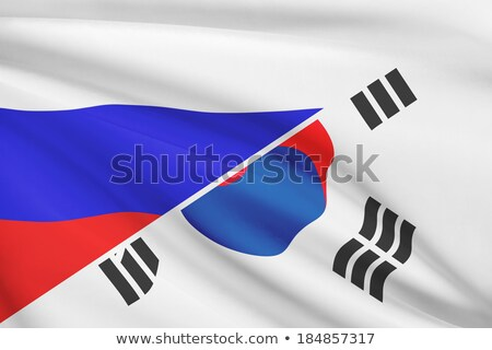 Two waving flags of Russia and South Korea Stock photo © MikhailMishchenko
