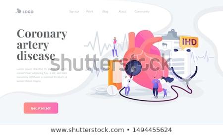 Stockfoto: Hartziekte · landing · pagina · arts · stethoscoop · luisteren