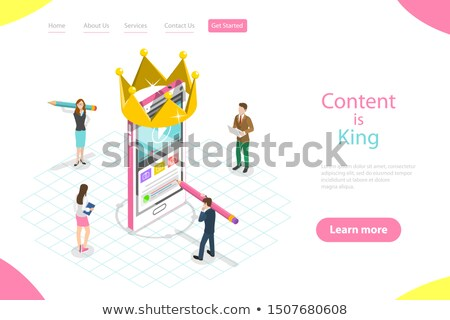 flat isometric vector landing page template of content creating copywriting stock photo © tarikvision