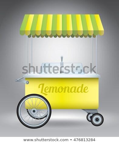 limonádé · áll · fiú · vágási · körvonal · üzlet · gyerek - stock fotó © bluering