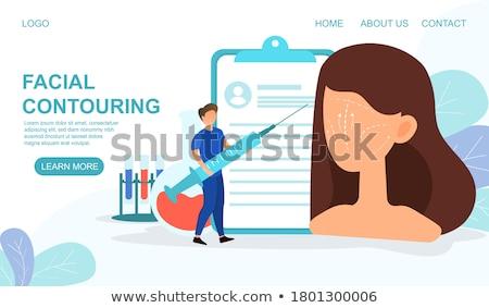 Landing pagina chirurgen spuit chirurgie vrouw Stockfoto © RAStudio
