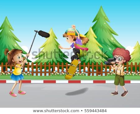 Camera crew filming girl skateboarding in park Stock photo © colematt
