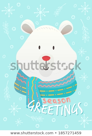 merry christmas bear wearing scarf poster vector stock photo © robuart
