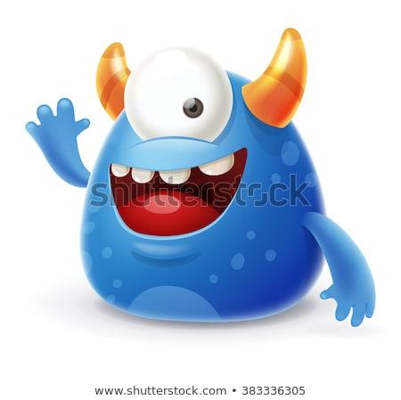 happy cute monster cartoon character waving stock photo © hittoon