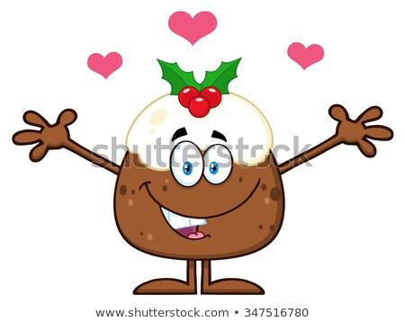 Mosolyog karácsony puding rajzfilmfigura nyitva karok Stock fotó © hittoon