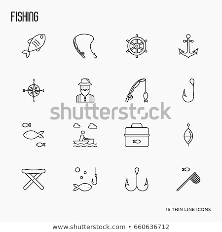 Icon of Fishing folding chair Stock photo © angelp