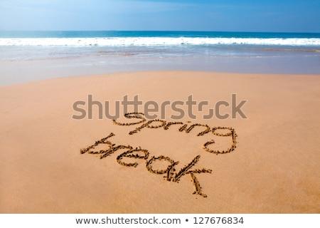 Szöveg tavaszi szünet homok tengerpart magasról fotózva kilátás Stock fotó © nito