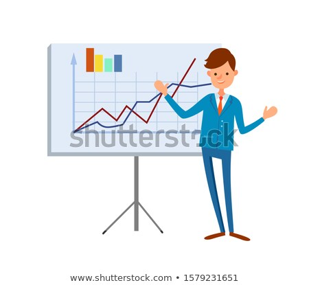 Happy Manager Pointing on Tripod Board Charts Stock photo © robuart