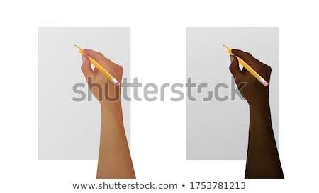 черно · белые · Cartoon · иллюстрация · человека · карандашом - Сток-фото © bennerdesign