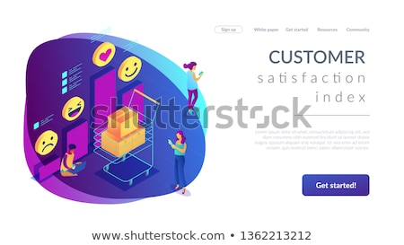 Stock photo: Get clients feedback isometric 3D landing page.