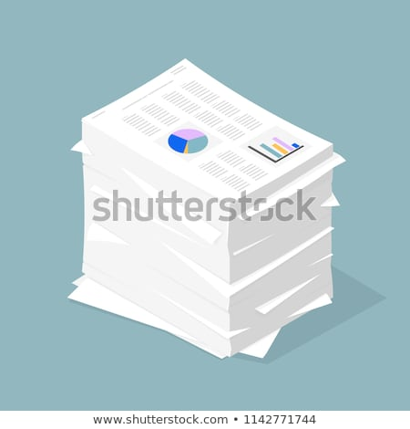 icon of stacked paper documents pile with business report bar graph stock photo © ussr