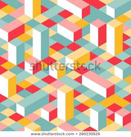 colorful isometric seamless pattern random cubes puzzle vector background stock photo © ukasz_hampel