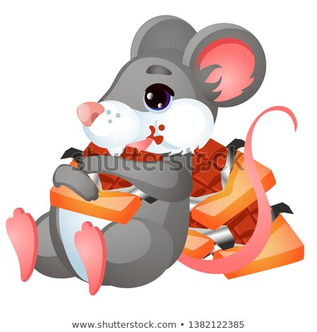 Cute animated mouse eating chocolate isolated on white background. Vector cartoon close-up illustrat Stock photo © Lady-Luck