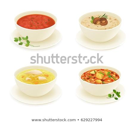 Frescos verde sopa de verduras rojo tazón cena Foto stock © Melnyk