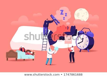 ночь храп бизнесмен спальный кровать сердиться Сток-фото © RAStudio