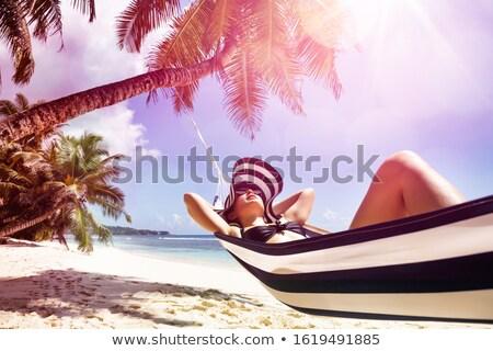 гамак полосатый Hat расслабляющая Сток-фото © AndreyPopov