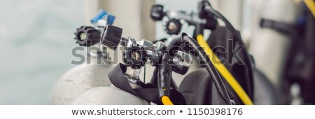 scuba compressed air tank on boat. Ready for diving BANNER, long format Stock photo © galitskaya