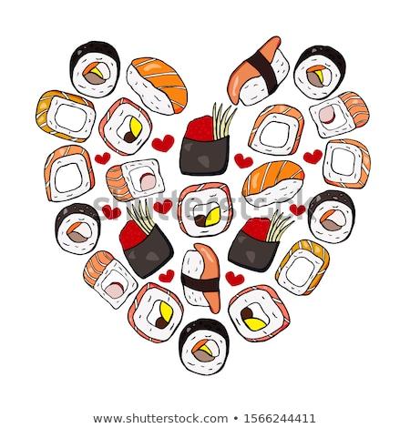 vector set color sketch gunkan sushi stock photo © netkov1