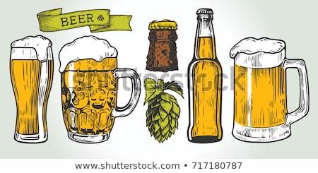 Hand Drawn Mug Color Froth Bubble Beer Drink Vector Stock photo © pikepicture