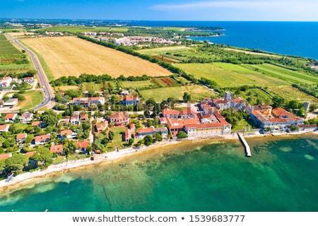 Dajla abandoned convent aerial panoramic coastline view Stock photo © xbrchx
