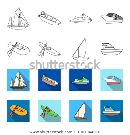 Fishing Boat with Oars Passenger Liner Vector Set Stock photo © robuart