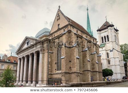 protestáns · templom · Genova · Svájc · fehér · kicsi - stock fotó © borisb17