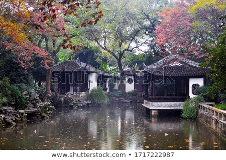 Chinês jardim chuva antigo tempestade arquitetura Foto stock © craig