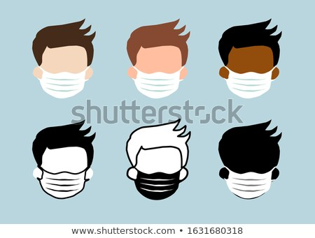 Colorful air pollution face masks set, man and woman wearing medical mask Stock photo © MarySan