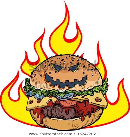 Halloween Burger llamas infierno caliente alimentos Foto stock © studiostoks