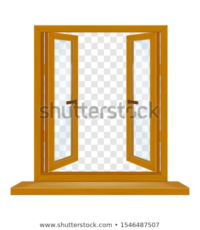 open wooden window with shutters and transparent glass for desig Stock photo © konturvid