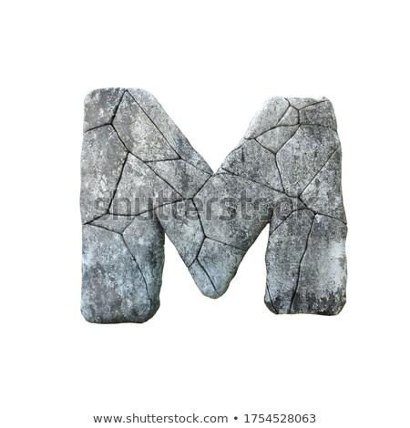 Concrete frattura carattere lettera m 3D rendering 3d Foto d'archivio © djmilic