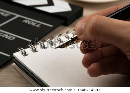 Töltőtoll kezek film üzlet iroda könyv Stock fotó © mizar_21984