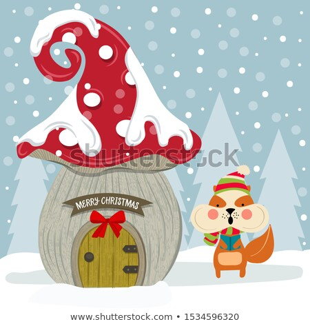 Christmas card with cute squirrel and fairy house. Flat design.  Stock photo © balasoiu