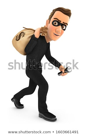 3d thief carrying bag of money on his back Stock photo © 3dmask