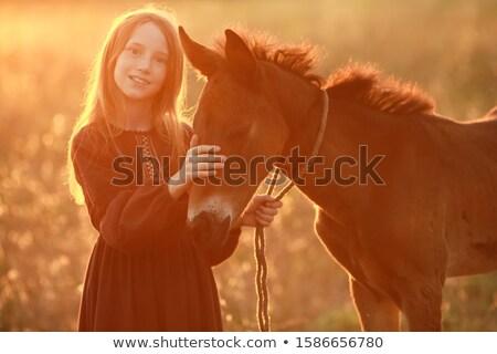 若い女性 屋外 ドレス 裸足 ペット 馬 ストックフォト © ElenaBatkova